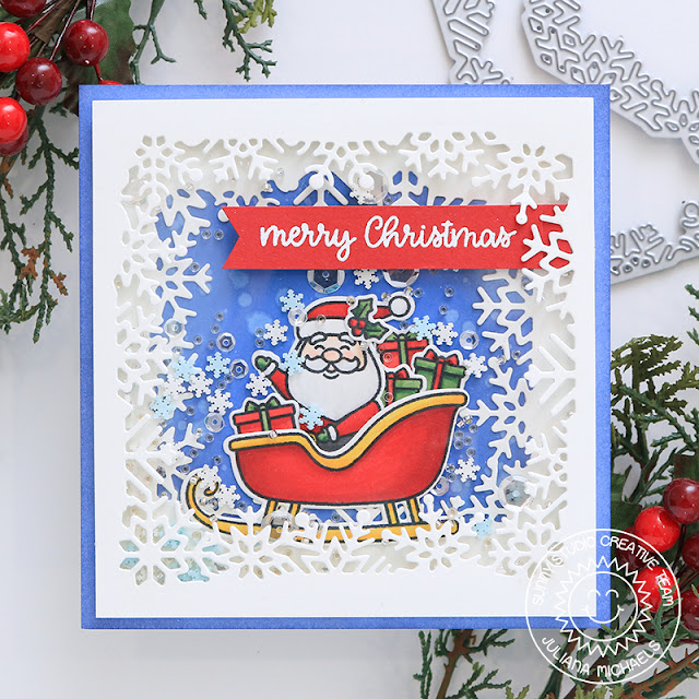 Sunny Studio Stamps: Santa Claus Lane Layered Snowflake Frame Dies Fancy Frames Dies Merry Christmas Card by Juliana Michaels