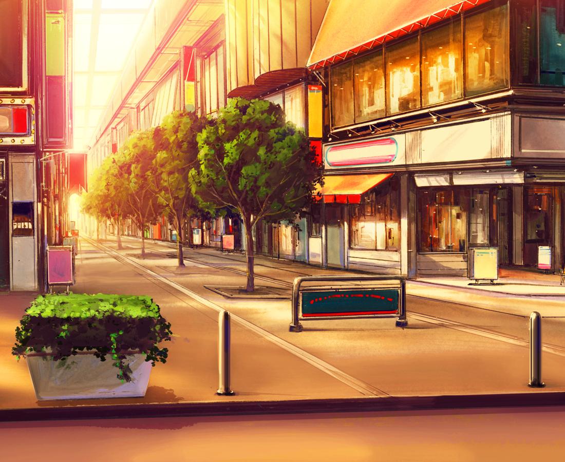 1 Bedroom House City Anime Background
