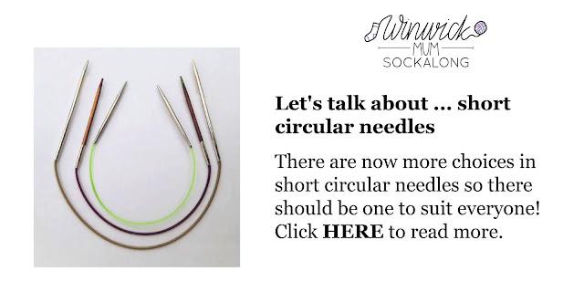 Three sets of knitting needles - short circular, long circular and DPNs on a white background