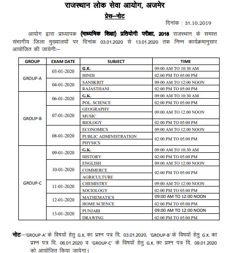 RPSC Grade I Exam Notice 2020