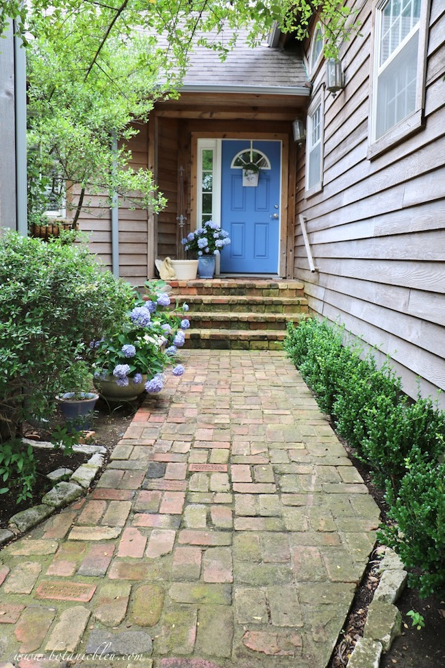 Summer Courtyard Blue Hydrangeas and boxwood shrubs beautify front entry and porch
