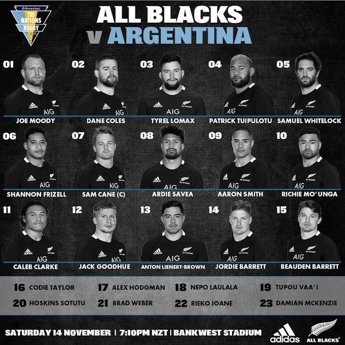 Formación de los All Blacks ante Los Pumas #TriNations2020
