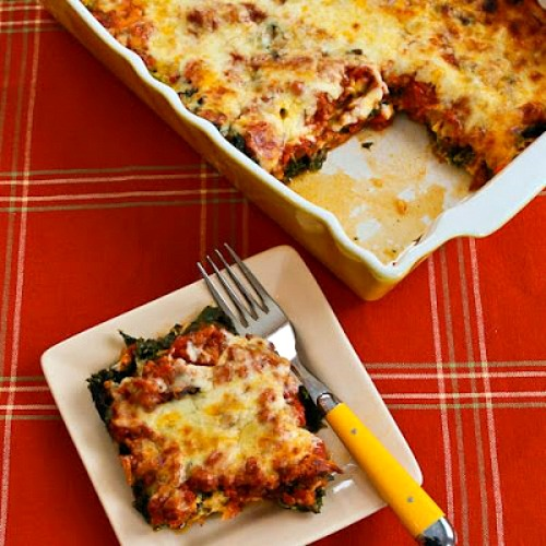 Low-Carb Sausage and Kale Mock Lasagna Casserole found on KalynsKitchen.com