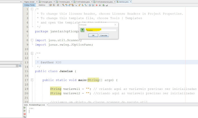 Criando interface java no netbeans