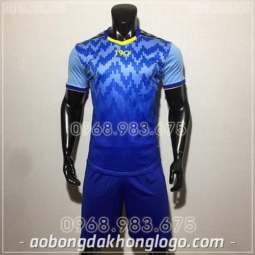 Áo bóng đá ko logo T90 Cli màu xanh dương