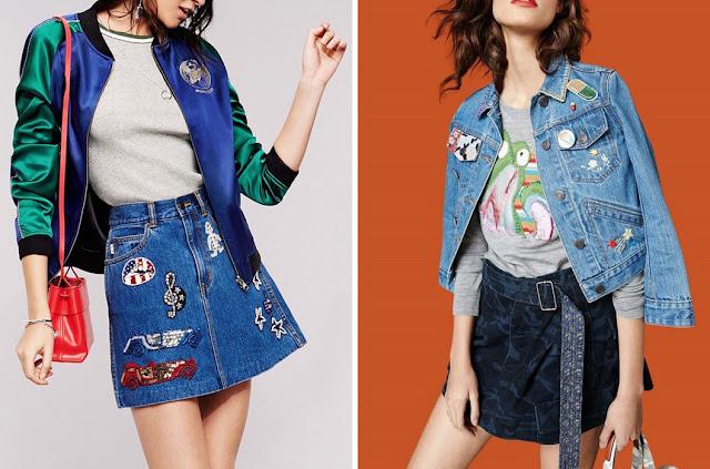 Джинсовая юбка и куртка с нашивками для гамина