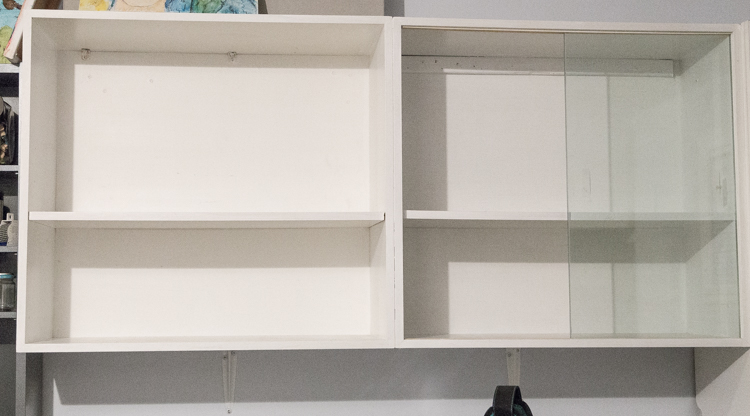 Easy upgrade of an ordinary shelf unit | Old book pages | mod podge | DIY | Home Decor | Craft Room | Organization | One Room Challenge