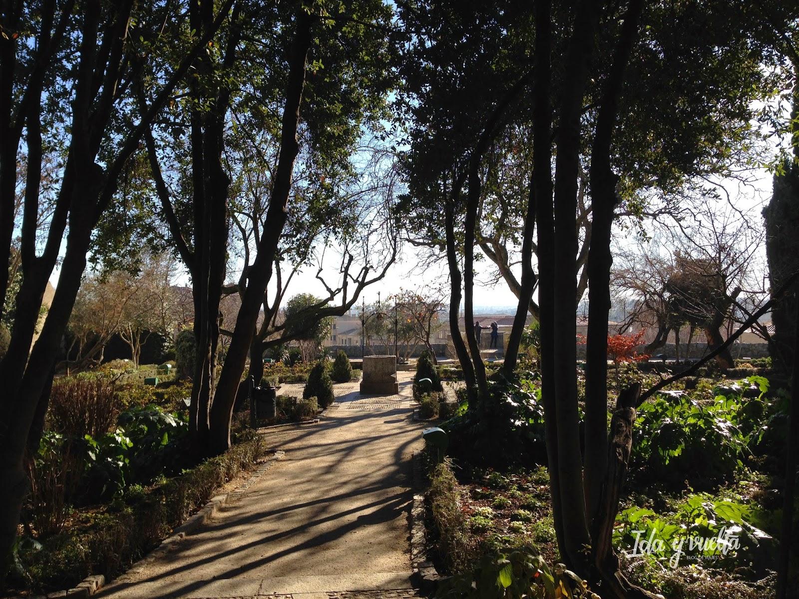 Sombras de los árboles en la entrada al Huerto