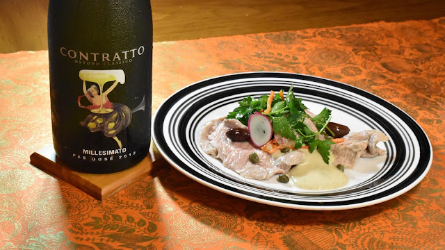Contratto Millesimato and Vitello Tonnato Sous Vide. Photo by Greg Hudson. Recipe by Nicole Ruiz Hudson