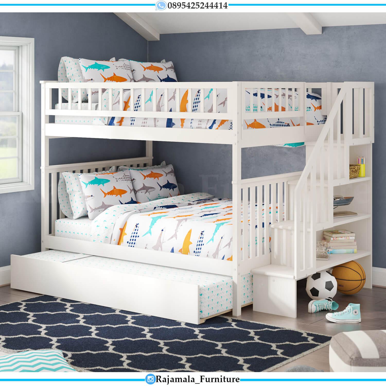 Harga Tempat Tidur Tingkat Anak Terbaru Putih Duco Luxury Modern Set RM-0431