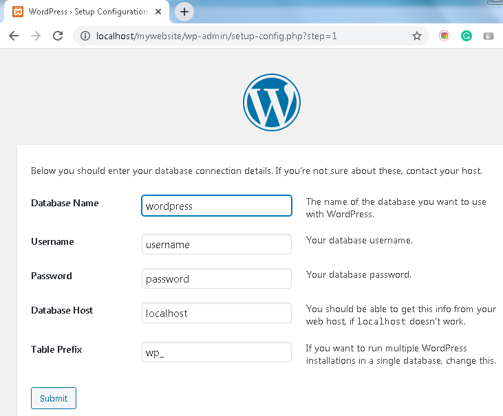 Enter database details to install WordPress
