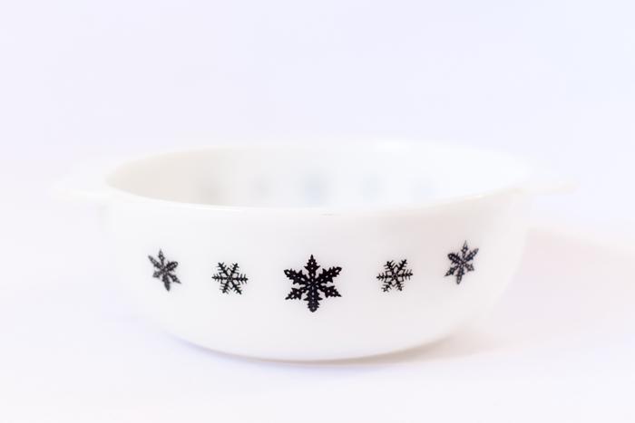 black and white snowflake pyrex dish