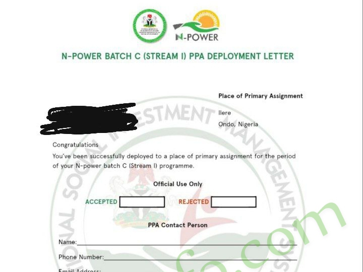 Pictures Of Npower Batch C Deployment Letter (Npower PPA letter )