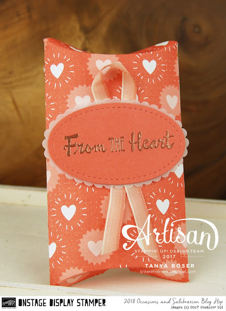 This simple pillow box was created with Stampin' Up!'s Petal Palette stamp set, Bubbles and Fizz DSP from the 2018 Occasions Mini. ~Tanya Boser as a Display Stamper