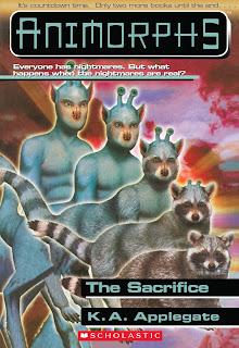 A blue centaur-like alien (Aximili) turns into a raccoon