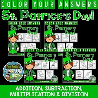 MORE St. Patrick's Day Color By Number Addition, Subtraction, Multiplication, and Division Bundle