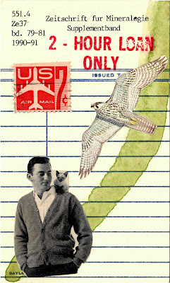 metaphysics ontology 2 hour loan library card jet plane airmail stamp hawk eagle kitten on man's shoulder cardigan Dada Fluxus mail art collage