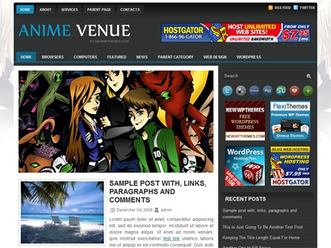 Anime Venue Wordpress Themes
