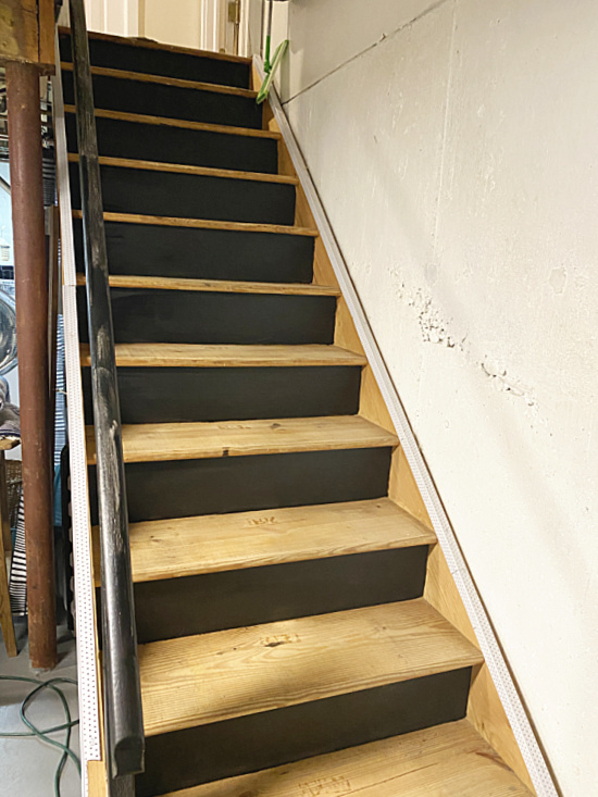 stairs with black risers