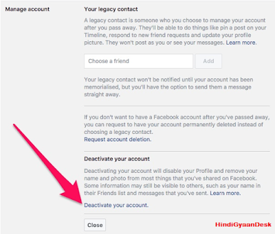 Facebook Deactivate Your Account
