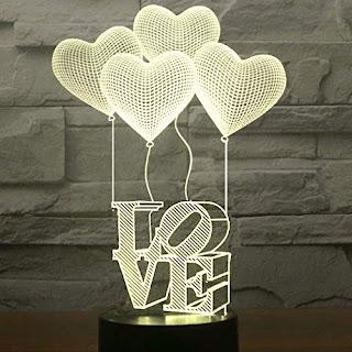 Creative Decor 3D LED Love Heart Lamp for Gift on Valentine