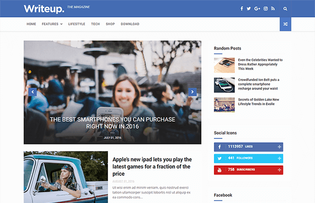 WriteUp - Blog, News & Magazine Blogger Template