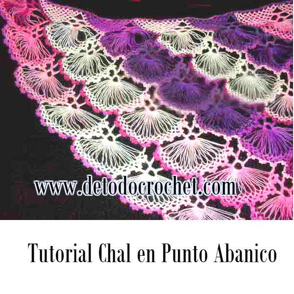 manton triangular punto abanico para tejer al crochet