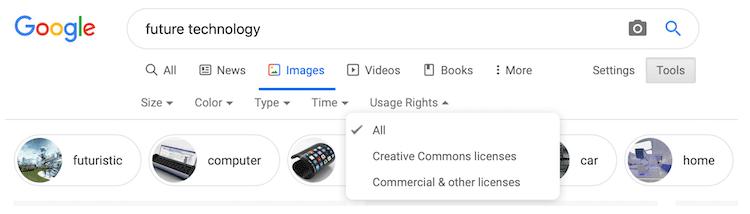 Google License image search
