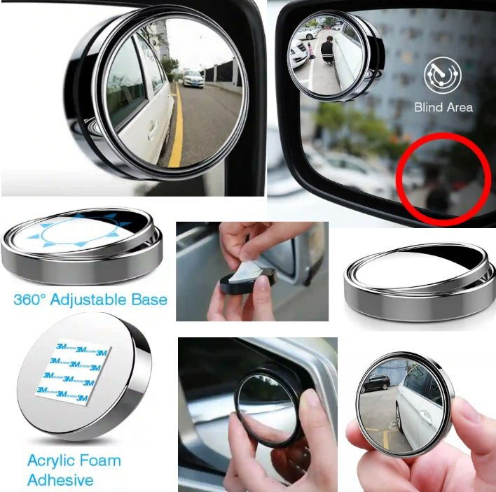 Car Blind-Spot Rearview Mirror - Convex HD Glass with 360 Rotatable Base for Vehicle's Rear Vision