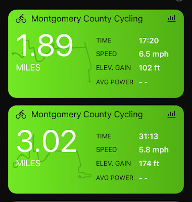 Screenshot of two ride summaries; the top is 1.89 miles in 17:20 at 6.5mph and the bottom is 3.02 miles in 31:13 at 5.8 mph