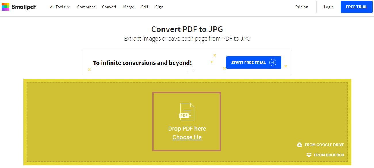 Cara mengubah PDF ke gambar melalui situs SmallPDF