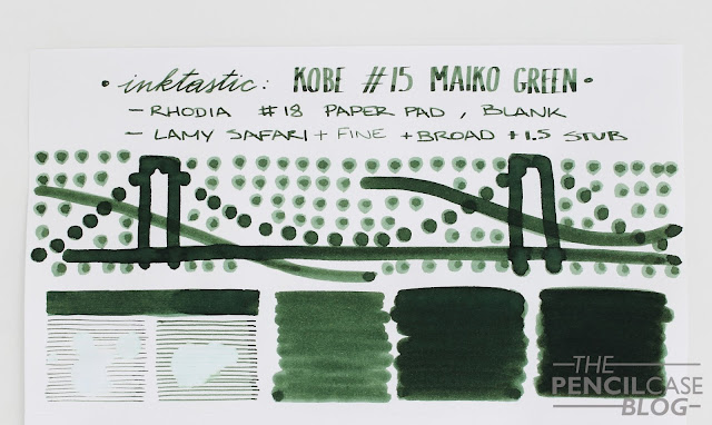 Ink review: Sailor Kobe #15 Maiko Green fountain pen ink.