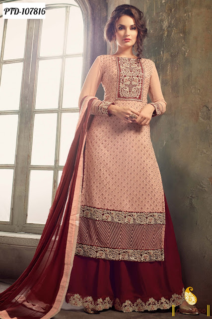 Stylish Wedding Party Wear Palazzo Salwar Suits Online Shopping with Lowest Price Rate in India