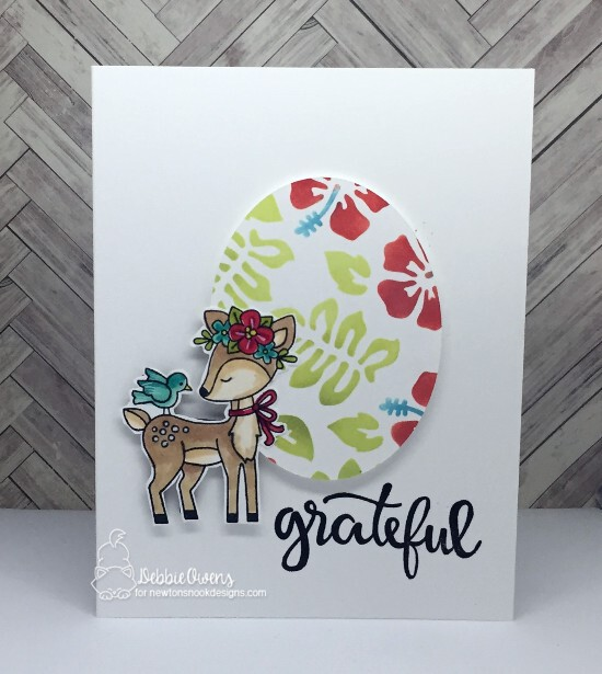 Grateful by Debbie features Woodland Spring, Thankful Thoughts, and Hibiscus by Newton's Nook Designs; #newtonsnook
