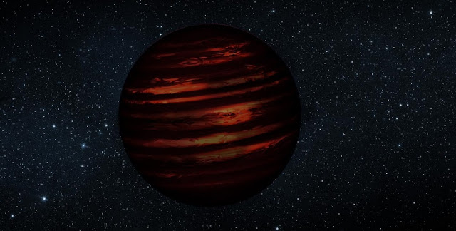 An artist's conception of a brown dwarf. Image is courtesy of NASA/JPL, slightly modified by Jonathan Gagné.