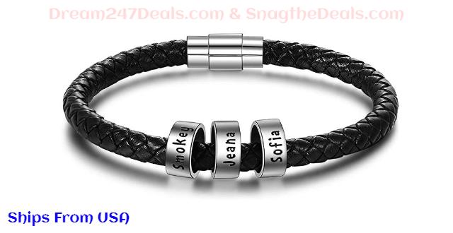 Personalized Men Leather Bracelet 50% off
