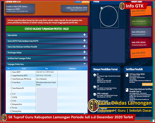 SK Tuprof Guru Kabupaten Lamongan Periode Juli s.d Desember 2020 Terbit, Cetak dan Simpan Sebagai Kelengkapan Berkas