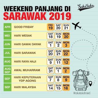 Selamat cuti Hari Sarawak. Banyak cuti hari minggu yang panjang tahun 2019