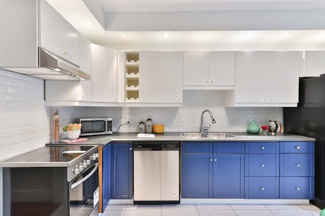 Gambar Desain Dapur Minimalis Modern Dengan Warna Cat Biru