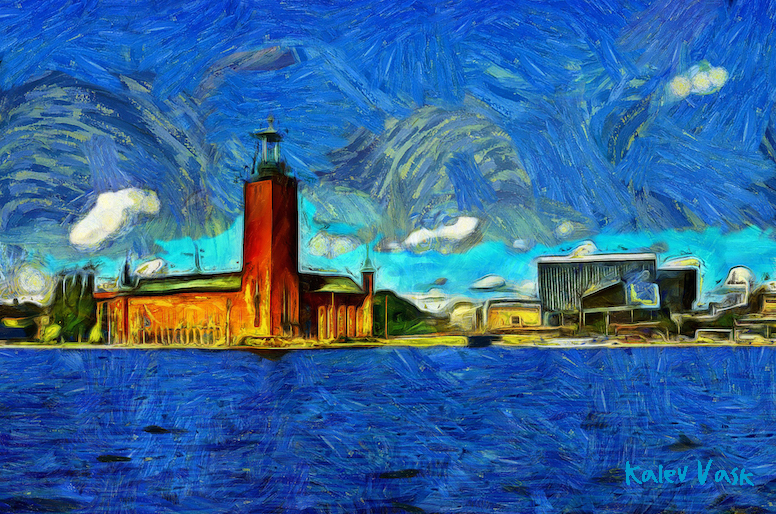 A view of City Hall Stadshuset from Riddarholmen, Stockholm, Sweden. Created with Dynamic Auto Painter from photo by Kalev Vask
