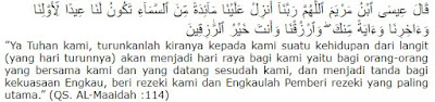 Bacaan Do'a Nabi Isa As Memohon Rezeki dan Terjemahannya