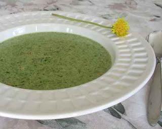 Cream of Dandelion Soup ♥ AVeggieVenture.com. Spring Classic.