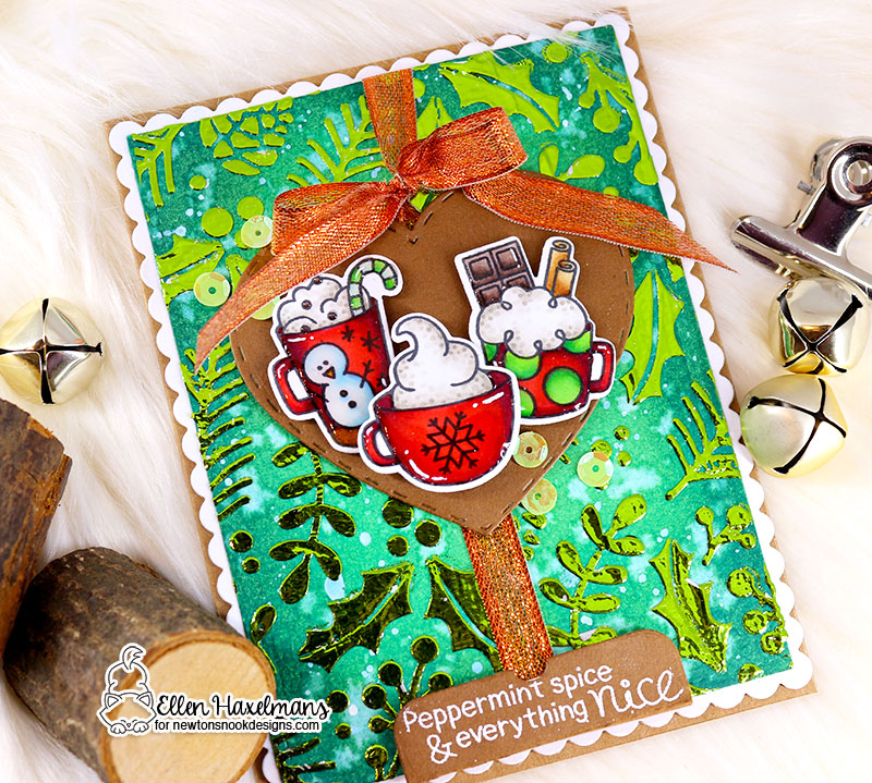 Newton's Nook Designs & Therm O Web Inspiration Week  | Christmas Cards by Ellen Haxelmans using Cup of Cocoa Stamp Set and Holiday Foilage Stencil by Newton's Nook Designs and Therm O Web foils #newtonsnook #thermoweb