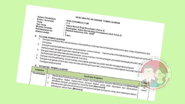 RPP 1 Lembar Kelas 5 Semester 1 Tema 2
