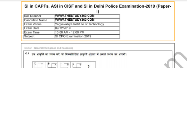 SSC CPO SI 2019 All Papers PDF Free Download