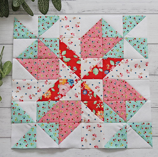Spring Breeze Quilt Block designed by Rose Johnston from Threadbare Creations for FaveQuilts