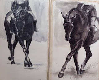 'Follow Me' and 'Sienna Oil', equestrian art, horse painting, dressage horse painting, 3day eventing, contemporary equestrian art