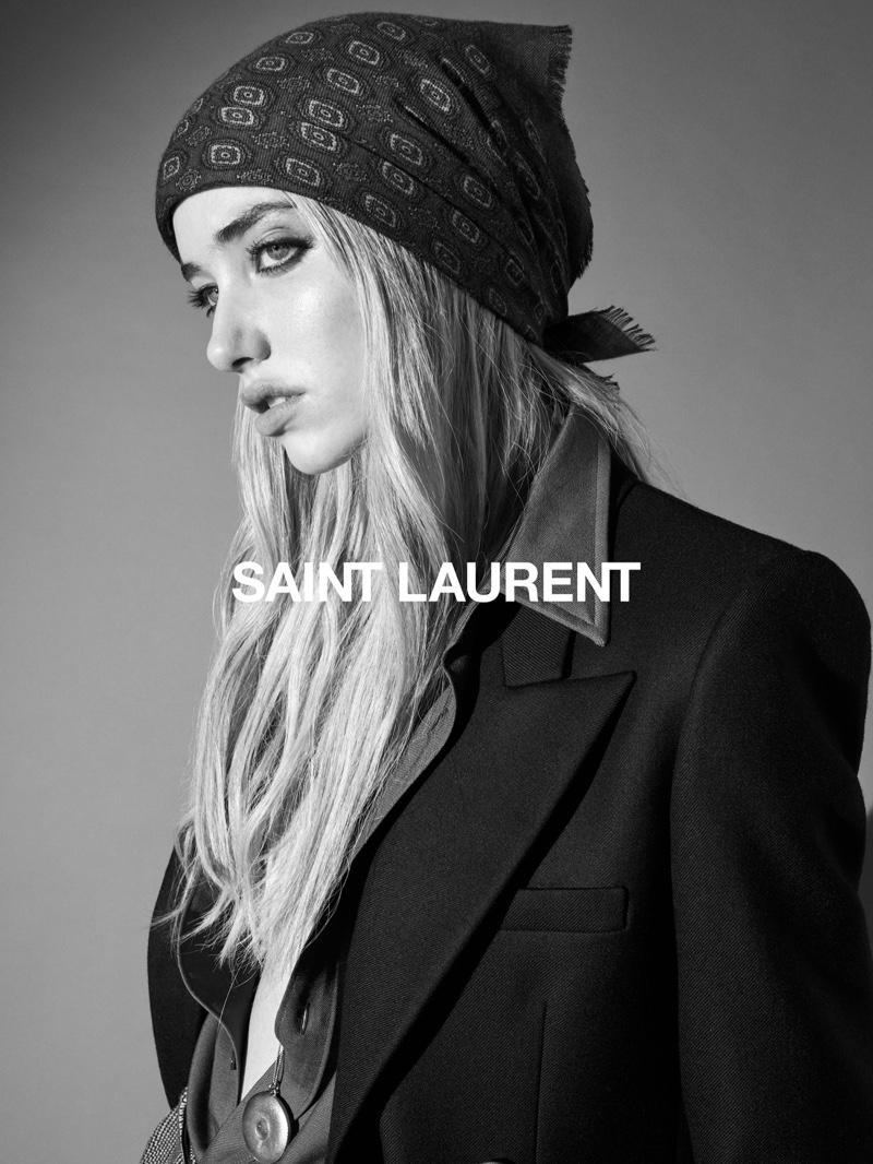 Model Grace Hartzel fronts Saint Laurent fall 2020 campaign.