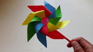 cara membuat kincir angin dari kertas karton www.simplenews.me