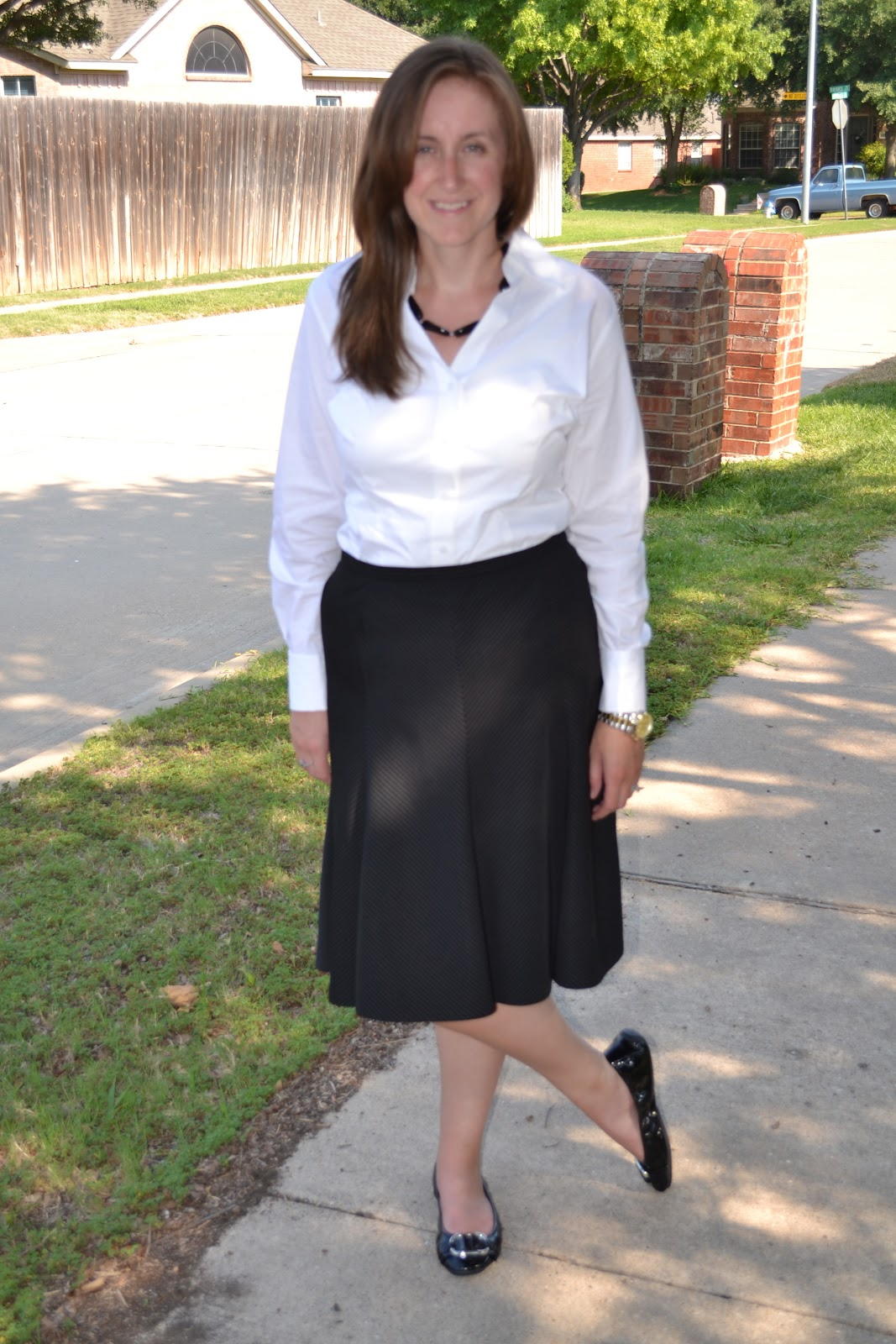Fashion By Alicia: White Blouse and Pinstripe Skirt